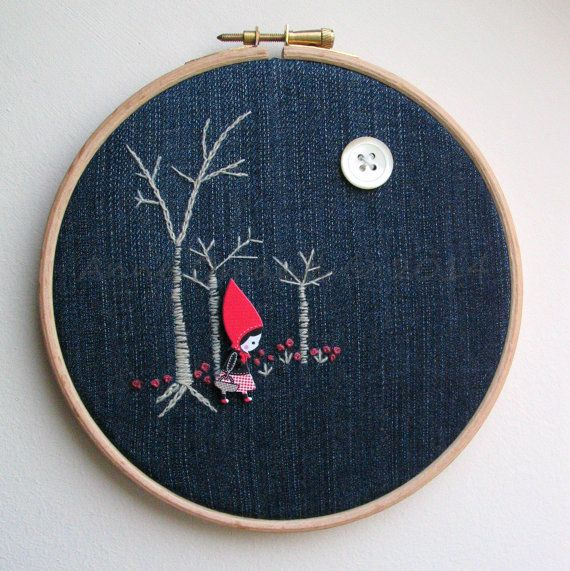 Embroidery Hoop Art red riding hood by Anneatcountrybazaar on Etsy, £16.00