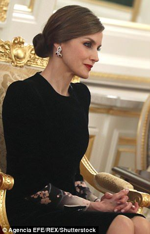 Queen Letizia of Spain looks stylish in a pencil skirt in Tokyo #dailymail