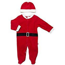 "Baby Gear Unisex Baby ""My 1st Christmas"" Santa Clause Footie Sleeper Suit & Cap Set, True Red 6-9 Months"