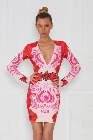 Krátke mini šaty dlhým rukávom a kvetinovým vzorom, V výstrihom a zapínaním na zips určite nesklamú. Vhodné na party či na akúkoľvek príležitosť.