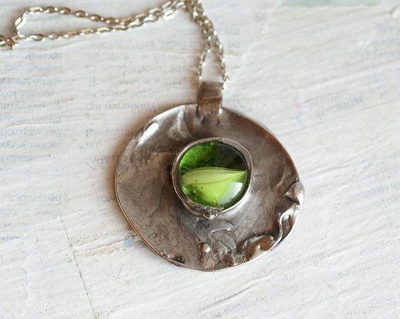 Glass necklace GREEN Handmade metal geometriic by studioARTEA