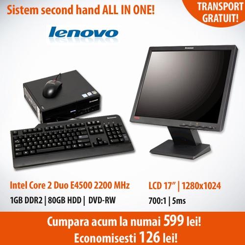 """Recomandarea noastra astazi!  Economiseste 126 de lei la pachetul All In One Lenovo: calculator Lenovo 6395, cu procesor Intel Core 2 Duo E4500 2200 MHz, 1024 MB DDR2, 80 GB HDD, DVD-RW si Monitor 17"""" Lenovo L174, 1280 x 1024, 700:1!"""