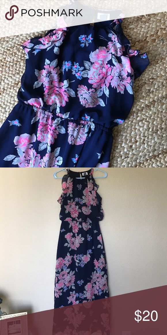 """Old Navy Floral Maxi Dress Right on trend with this floral print. Sheer overlay over lining. Slit on ones side. Ruffle detail along arm openings. Tag says small petite so maybe a petite size but fits me more like an average small. Approximately 53"""" long. Slit approximately 16 1/2"""". Old Navy Dresses Maxi"""
