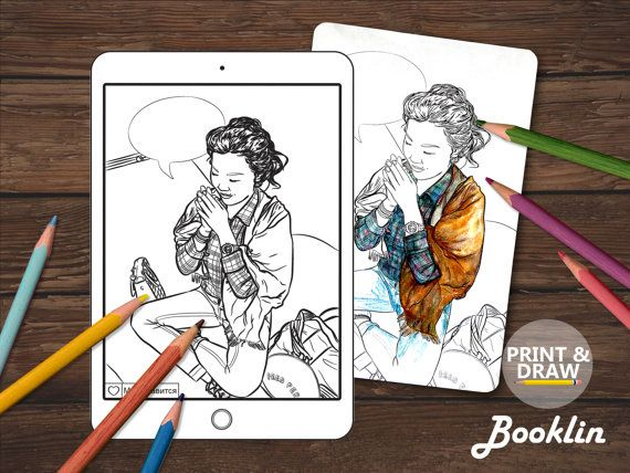 Asian girlsAdult Coloring BookColouring Page For от Boooklin
