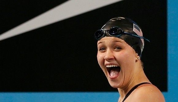 Olivia Smoliga reacts to winning the 100 back world title Thursday.