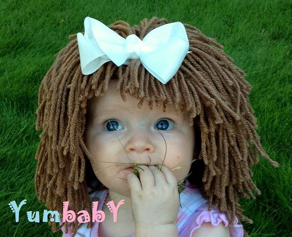 Brown Cabbage PatchInspired Baby Hat Winter Beanie by YumbabY, $29.95  #baby #hats #wigs #hat #clothes #pageant #costume #hair #yarn #brown #raggedy #ann #halloween #costumes #cabbage #patch