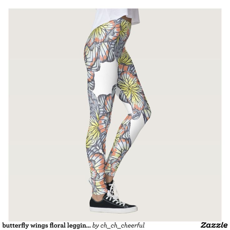 butterfly wings floral leggings : Beautiful #Yoga Pants - #Exercise Leggings and #Running Tights - Health and Training Inspiration - Clothing for #Fitspiration and #Fitspo - #Fitness and #Gym #Inspo - #Motivational #Workout Clothes - Style AND comfort can both be achieved in one perfect pair of unique and creative yoga leggings - workout and exercise pants - and running tights - Each pair of leggings is printed before being sewn allowing for fun designs on every square inch - Medium weight…