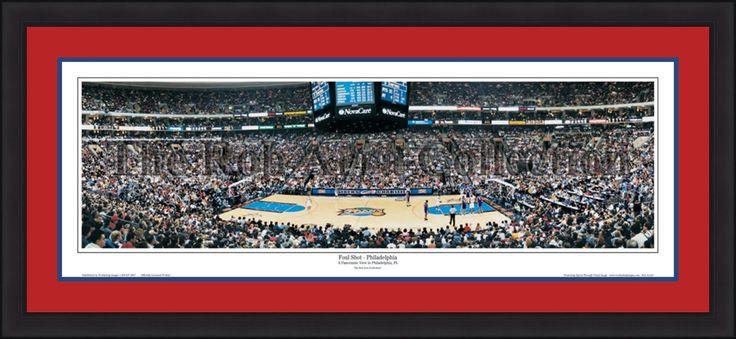 Philadelphia 76ers Wells Fargo Center Foul Shot NBA Basketball Rob Arra Framed and Matted Stadium Panorama
