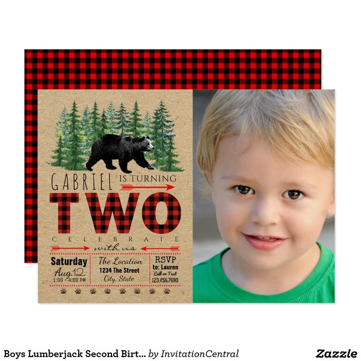 first birthday invitation wordings india%0A Boys Lumberjack Second Birthday Party Invitations