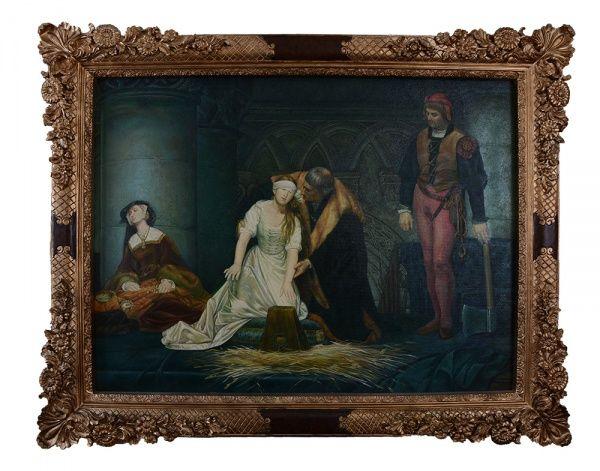 """PAUL DELARCHE - """"The Baker - Decaptação de Lady Grey"""", reprodução em óleo sobre tela, 89 x 120 cm. Adquirida no Museu do Louvre, onde a original encontra-se exposta, datada de 1833. O rei Henrique VIII manda decaptar sua esposa, por não lhe conceder um filho varão. Moldura de madeira entalhada e dourada, medindo 118 x 150 cm.  Mais #Leilões nesta 6ª feira, 24/04/15.  Online e Ao vivo a partir das 20h!  Participe e Repasse aos amigos!"""
