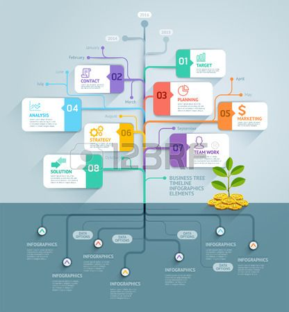 Business tree timeline infographics Vector illustration Can be used for workflow…