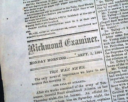 RARE Confederate Fall of Atlanta GA Georgia 1864 Civil War Richmond VA Newspaper | eBay