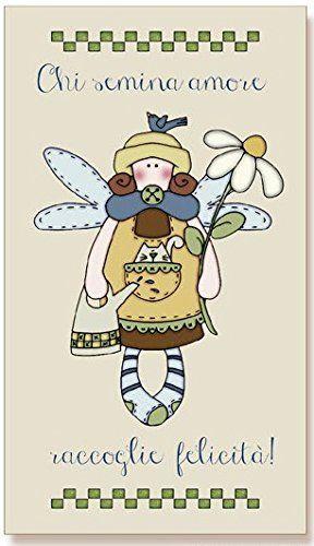 """tavola country in legno di abete con fondo opaco """"Chi semina amore, raccoglie felicità!"""", idea regalo, artigianato italiano, made in Italy, con frase scritta, spiritosa, fuori stanza, fuori porta, bomboniere, targa porta, tavola country, quadretto con ferretto, dimensioni cm 20x36 sp. cm 1,5: Amazon.it: Casa e cucina"""