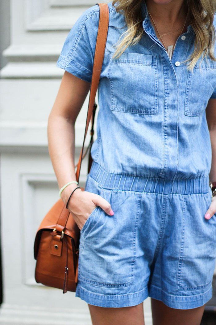 denim romper, summer outfit ideas, fashion, jeans, denim playsuit, nyc blogger, street style