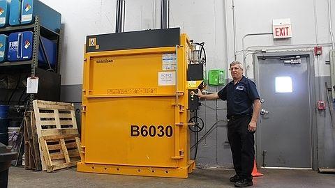 "Bramidan 60"" baler in Chicago machine shop #vertical baler #cardboard #plastic #recycle"