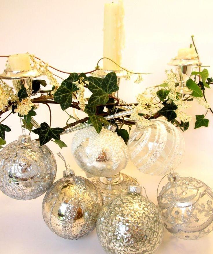 GISELA GRAHAM Christmas vintage glass baubles SET OF 6 tree ornaments silver | eBay