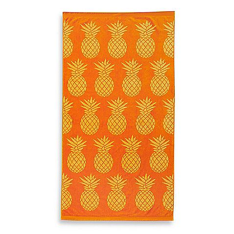 Brighten up your summertime style with this ultra-soft and absorbent Pineapple Jacquard Beach Towel. Featuring an allover cheery and colorful pineapple print, this cotton velour towel makes a great addition to your day at the beach or by the pool.