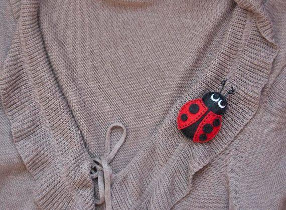 Ladybug felt brooch on Etsy, $11.20