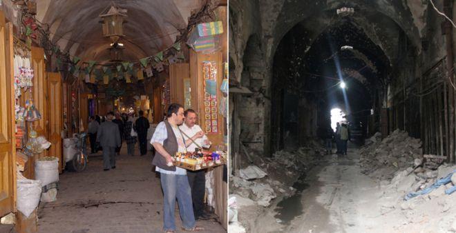 Mucho de la parte antigua de Alepo en la Ciudad Vieja ha sido dañado o destruido.