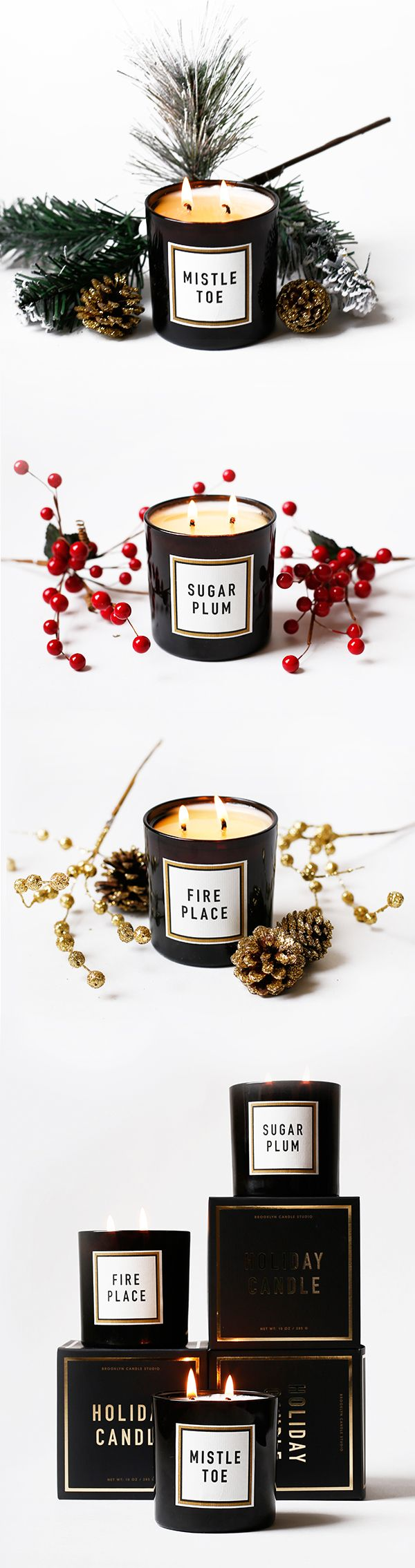 Holiday Candles - Mistletoe, Sugar Plum, Fireplace from Brooklyn Candle Studio. Pine scented candles, Christmas scented candles, Christmas Gift Ideas.