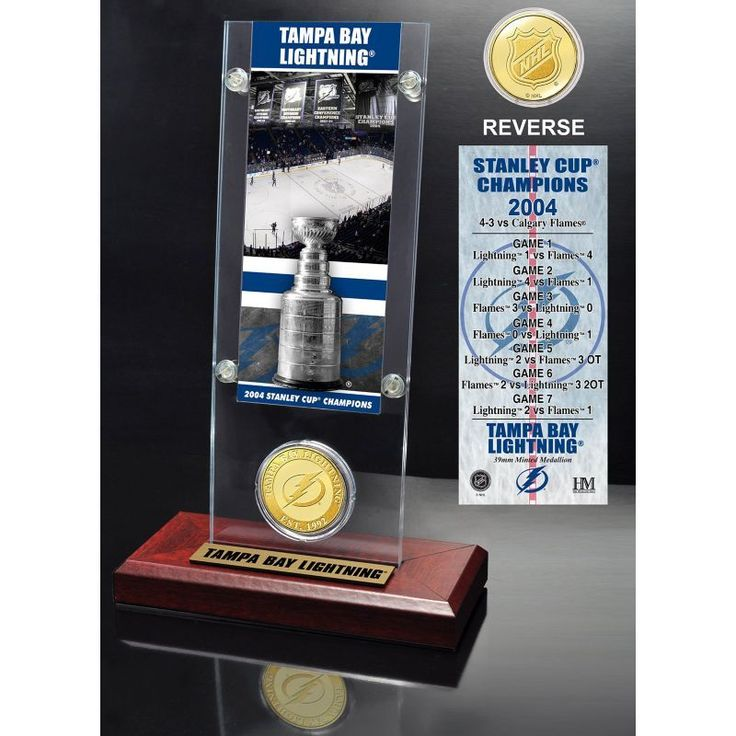 Highland Mint Tampa Bay Lightning 2004 Stanley Cup Champions Ticket and Bronze Coin Acrylic Display, Team