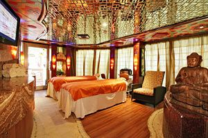 """The Lotus Spa, site of a deadly gun battle between terrorists and passengers aboard """"The Majesty - Into The Fog""""."""
