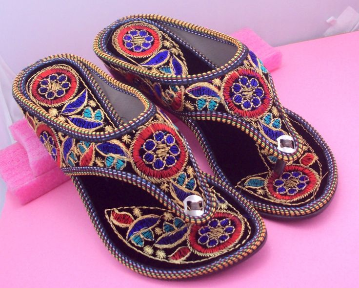 Multi Color Embroidery Sandals/Women Shoes/Women Sandals with Heels/Ethnic Shoes/Indian Shoes/Bohemian Shoes by pinkcityhandmade on Etsy