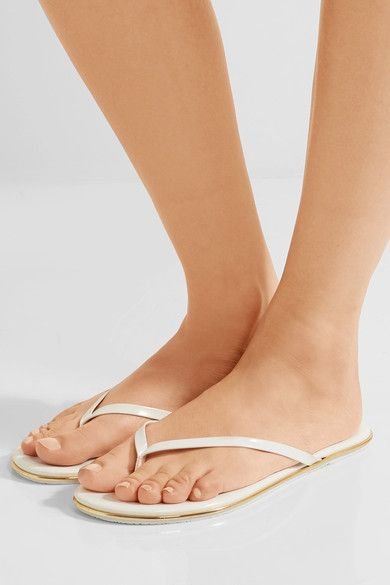 TKEES - Lily Patent-leather Flip Flops - White - US