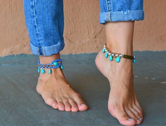 turquoise stone DROP ankle bracelet bride gift bride Bridal