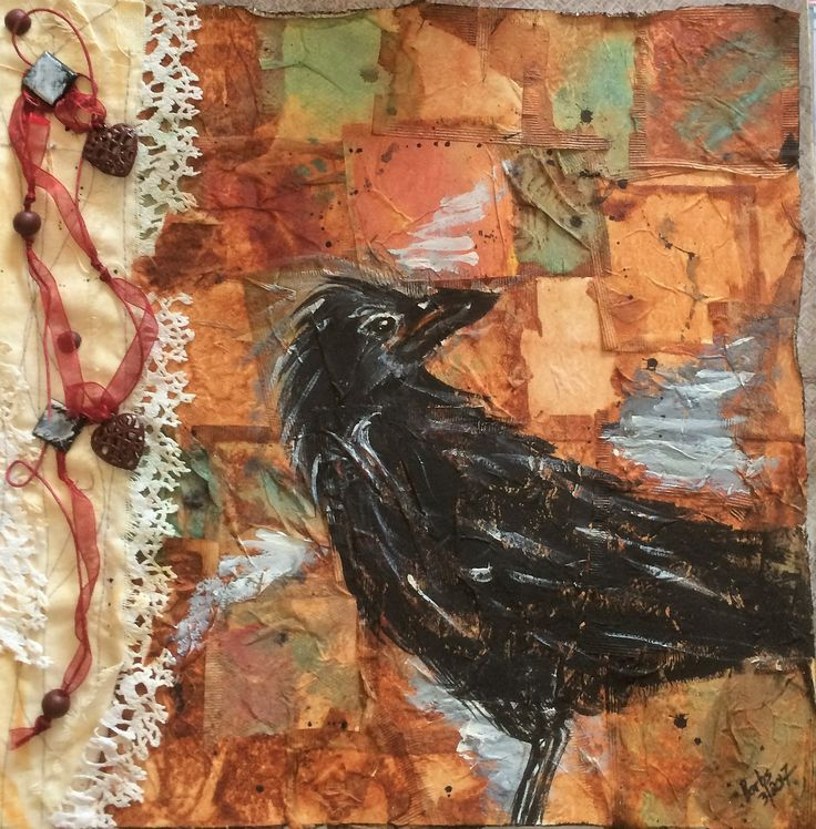 """Barbs Mey The Craftroom Mixed Media Collage Acrylic on Tea Bags :Raven"""""""
