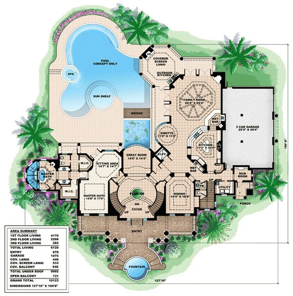plan 66231we southern influenced plantation estate floor 1 - Luxury House Plans