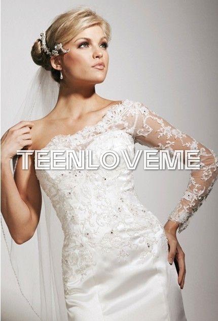 Glamorous One Shoulder Satin Floor Length Trumpet/Mermaid Wedding Dress - Wedding Dresses - Wedding