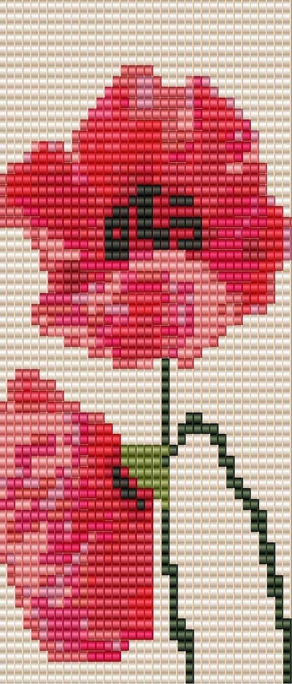 Sweet Poppy - Bead Loomed Pattern **INSTANT DOWNLOAD pdf***