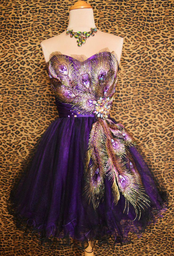 Purple Peacock Prom Cocktail Evening Mardi Gras Pageant Short Gown Dress M 6 8 | eBay