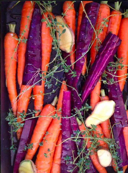 Honey roasted heirloom carrots with garlic and thyme