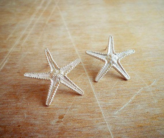 Sterling silver starfish stud earrings.