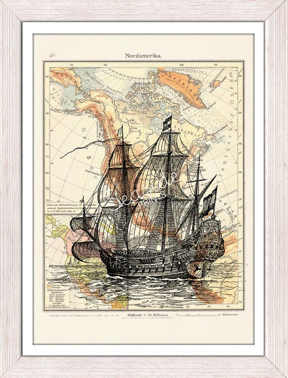 Mixed media Poster -Old Ship printed on Vintage map form America- sea life print- Vintage ship in a vintage German map on Etsy, $12.00