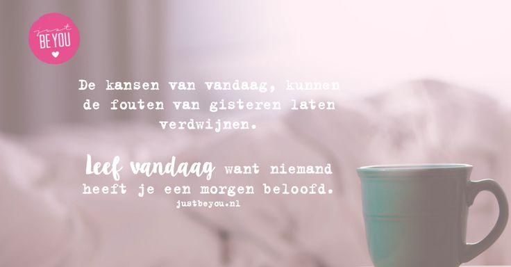 De kansen van vandaag kunnen de fouten van gisteren laten verdwijnen. NIemand heeft je een morgen beloofd.   quote / justbeyou / leef vandaag / jezelf