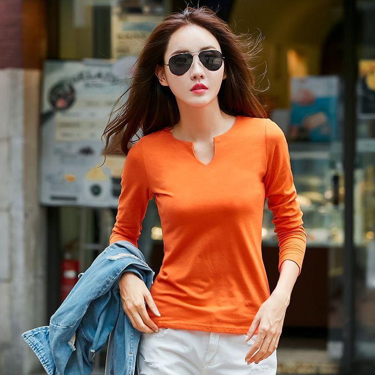 BIBOYAMALL T-Shirt Women 2017 Autumn Casual 90% Cotton Long Sleeve Female Tops Tee Shirt  LadyT-Shirt Green/Orange #Affiliate