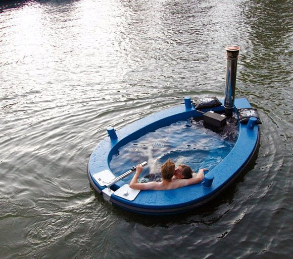 At first glance it looks like a boat is taking in water and is about to sink. But this is the HotTug Hot Tub Boat (HTHTB) from the Netherlands that you can sail and enjoy warm baths. The water is heated through a wood stove and the contents can take around 3 hours to reach the desired temperature. Containing up to 2,000L of water and propelled either by an integrated electric motor... Prices range from €8,950 ($11,575USD) for a bare no-engine/no-heater hull to €16,450 ($21,260USD) for the…