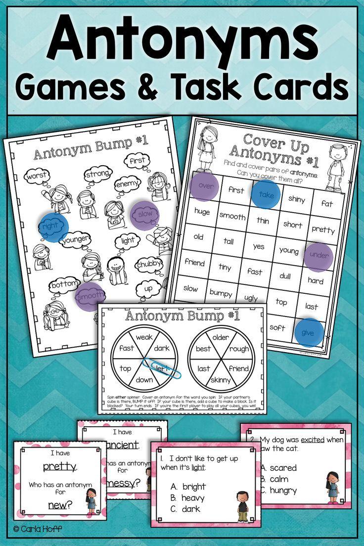Predownload: Antonyms Task Cards And Games Task Cards Grammar Task Cards Verb Task Cards [ 1104 x 736 Pixel ]