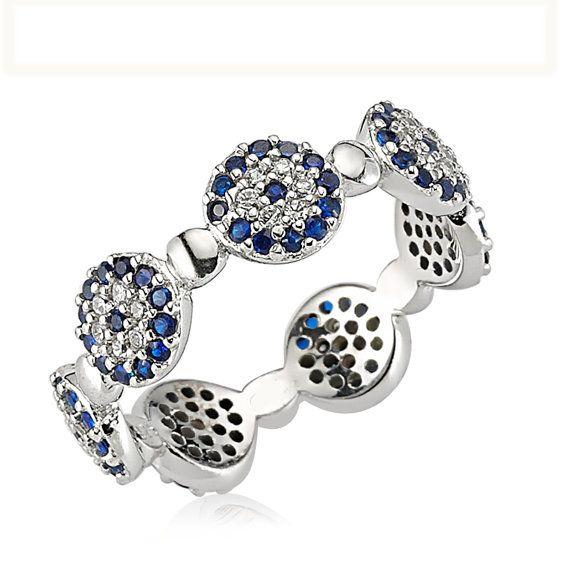 Evil Eye Ring ,925 Sterling Silver Filled CZ Stones by Evil Eye Gems (Evil Eye Jewelry)