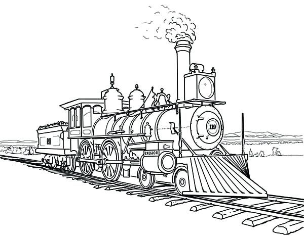 Coloring Pages Of Trains Amazing Steam Train On Railroad Coloring Page Free Printable Coloring Pages Dinosaur T Train Coloring Pages Train Drawing Train Tattoo