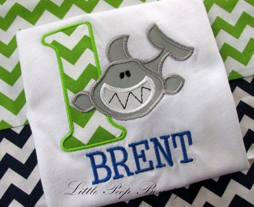First Birthday Shirt SHARK green chevron Personalized name embroidered