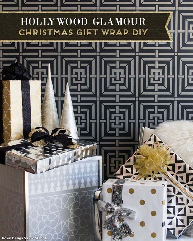 2 Holiday Stencils Tutorials: DIY Wrapping Paper - Royal Design Studio Christmas Craft Stencils