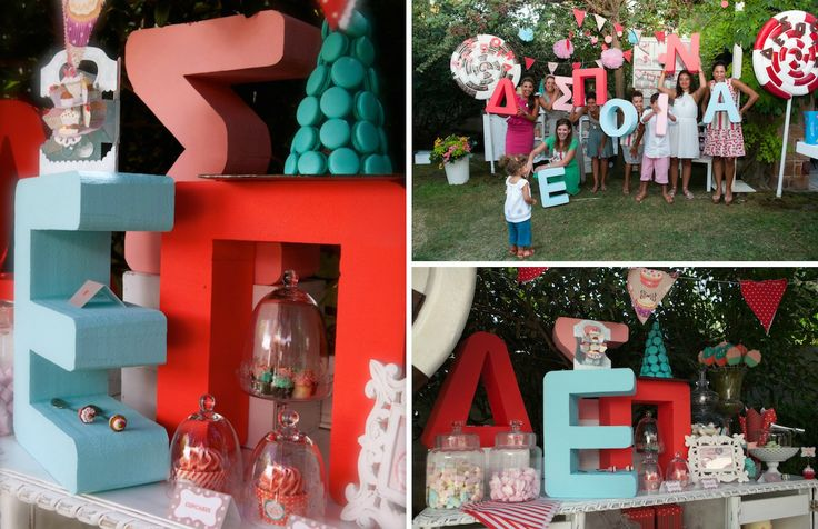 French Patisserie Christening Event @Am Villa in Ekali by De Plan V, welcome dessert table, letters, monograms, children, happy colours, macaroons, cup cakes!