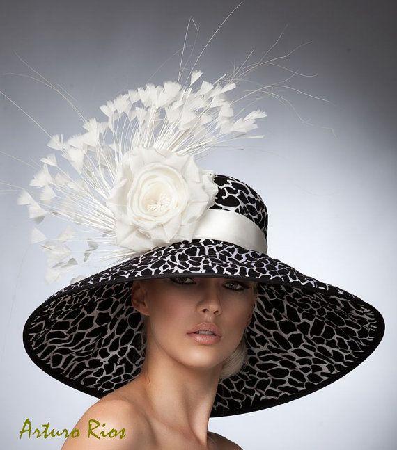 Chapeau Derby noir et blanc abat jour Hat Kentucky par ArturoRios