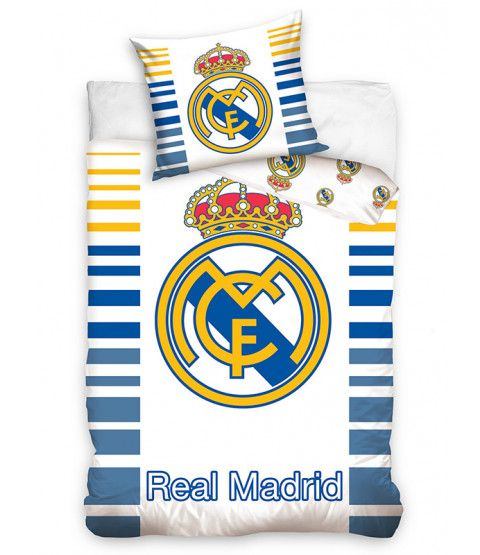 This Real Madrid CF Dash Single Cotton Duvet Cover Set features the famous Real Madrid club crest. Free UK delivery available.
