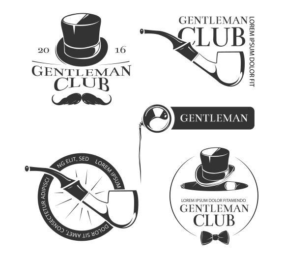 Retro gentleman club vector logos by MicroOne on Creative Market