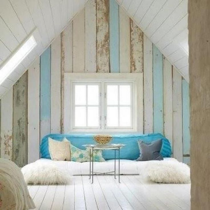 cozy awesome bonus room or attic space. love the different shades of  distressed wood as the accent wall, & how they repeat a bolder version of  that color in ... - The 25+ Best Wood Paneling Makeover Ideas On Pinterest Paneling